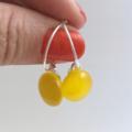 Yellow Fused Glass Hoop Earrings