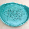 Ceramic mandala plate. Mandala dish, ring holder, jewellery holder. Green plate.