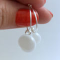 White Fused Glass Hoop Earrings