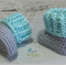 Mint & Light Grey Newborn Crochet Baby Booties Shoes Socks