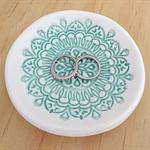 White or mint porcelain ring dish, ring bowl, ring holder. Ceramic bowl.