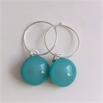 Turquoise Fused Glass Hoop Earrings