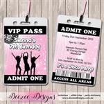 Disco Dance Personalised VIP Lanyard Birthday Invitations x 10
