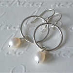 Freshwater Pearl and Sterling Silver Hoop Earrings.