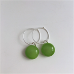 Greenery Green Fused Glass Hoop Earrings