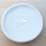 Gold bird ceramic ring dish, candle holder, ring holder. porcelain bowl.