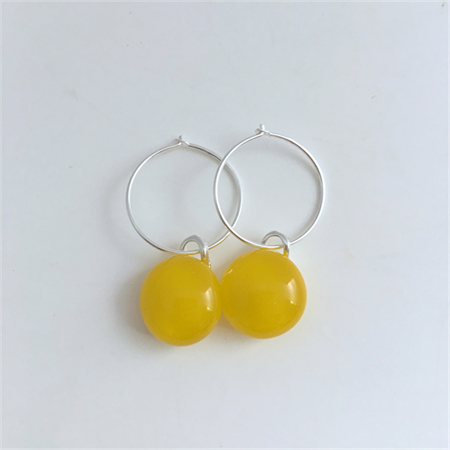 Yellow Fused Glass Hoop Earrings