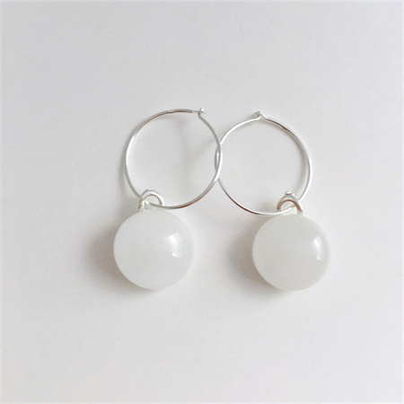 White Fused Glass Hoop Earrings