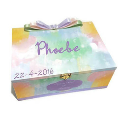 Rainbow Delight Time Capsule Keepsake Trinket Treasure Memory Wooden Baby Box