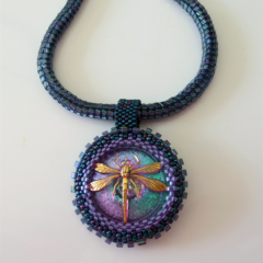 Dragonfly Pendant Beaded Necklace