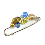 Handcrafted wrap or knitwear pin - spring toned crystals