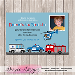 Fire Rescue Personalised Birthday Invitation - YOU PRINT