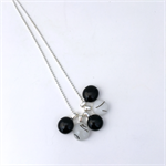 Black and White Fused Glass Cluster Necklace