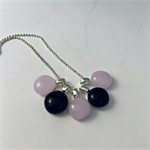 Navy and Pink Fused Glass Cluster Necklace