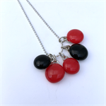 Red and Black Fused Glass Cluster Necklace