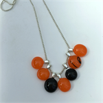 Black and Orange Fused Glass Cluster Necklace