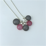 Pink and Grey Fused Glass Cluster Necklace