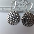 Antique Silver Hammered Circle Earrings -drop earrings hang 4.5cm long on nickel
