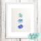 Origami Animals Mixed Media Original Ombre Blue Watercolours - 8x10 inch
