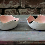 White+Pink Bowl with Textured Surface