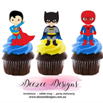 Superhero Edible Wafer Stand-Up Cupcake Toppers - Set of 16