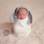 Baby Bunny Bonnet  / Newborn Photography / Grey / Soft Rabbit Hat
