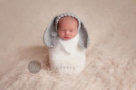 Baby Bunny Bonnet  / Newborn Photography / Grey / Soft Rabbit Hat