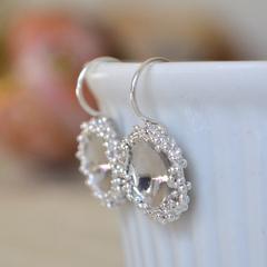 Sterling Silver Granulation Domed Earrings.