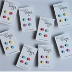 2 Pairs of Pastel Acrylic Pebble Earring Studs