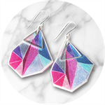 Triangle art earrings – pink teal by Next Romance Jewels Melbourne