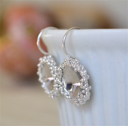 Sterling Silver Granulation Domed Earrings.