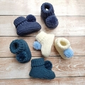 Made to Order - Pompom Stay On Booties - Hand Knitted - Pure Merino Wool