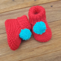 Christmas - Stay On Booties - Hand Knitted - Size NB to 6 months - Wool