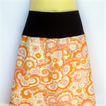 Retro Orange Paisley Print A Line Skirt - ladies size 8 to 10 avail. 70's