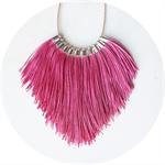 Tassel Fringe Funky Statement Necklace x -pink NEXT ROMANCE JEWELS