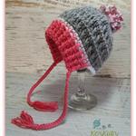 Dark Pink, Grey & White Crochet Newborn Brimmed Baby Beanie with Pompom