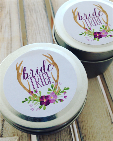10 X Personalised - Bridesmaid Favours - Petite Soy Wax Candle Tin