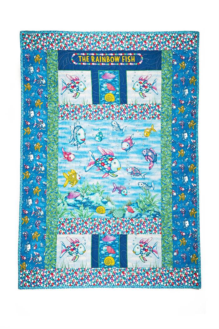 The rainbow fish handmade quilt quilts by robyn madeit for Rainbow fish fabric