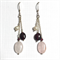Garnet, Rose Quartz and Freshwater Pearl earrings with sterling silver hooks