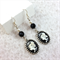 Butterfly cabochon earrings with sterling silver hooks