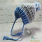 Blue, Grey & White Crochet Newborn Brimmed Baby Beanie with Pompom