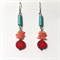 Howlite and coral earrings with sterling silver hooks