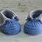 Blue & Light Grey Newborn Crochet Baby Booties Shoes Socks