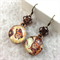 Altered Art Autumn Butterfly photo earrings