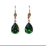 Fern Green Swarovski Earrings, Green Bridesmaid Earrings
