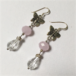 Butterfly crystal earrings with sterling silver hooks