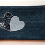 Upcycled Denim Pencil Case - Blue Hearts