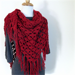 Red Fringed Shawl, Winter Wrap, Triangle Scarf, Handmade