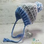 Blue, Grey & White Crochet Newborn Brimmed Baby Beanie with Pompom