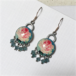 Rose and teal crystal earrings with sterling silver hooks